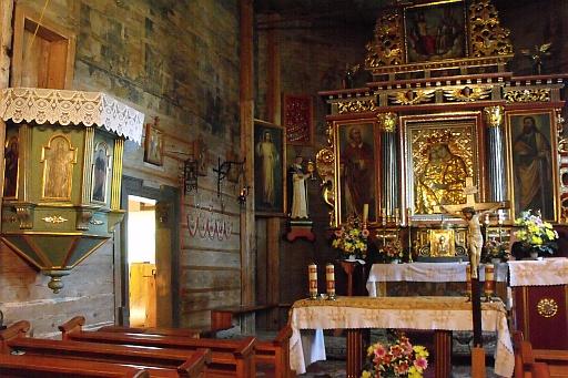 A 1500's wooden church. Interior.