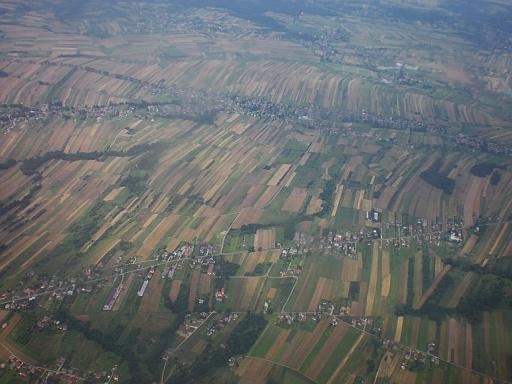 Polish farmland approaching Krakow