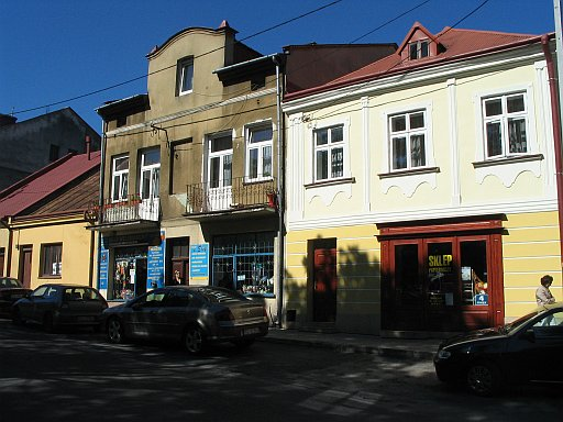 Rzeszów region. Tyczyn and old Jewish houses around square market.
