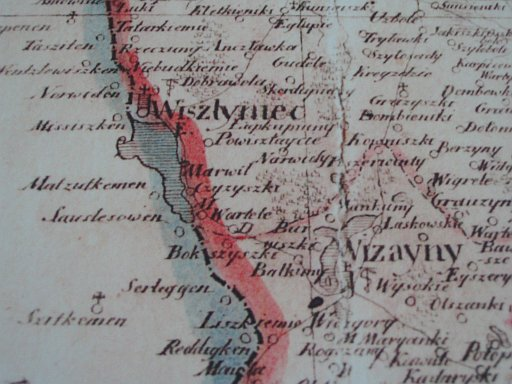Part of map of Augustow province from the first half of 19th century with Bokszyszki