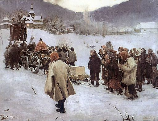 "Painting by Teodor Axentowicz - ""Pogrzeb huculski""  (Huculs Funeral) - Galicia. Source: wikipedia.org"
